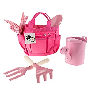 Hey! Play! Kid's Garden Tool Set with Child Safe Shovel, Rake, Fork, Gloves, Watering Can and Canvas Tote- Mini Gardening Kit for Boys and Girls