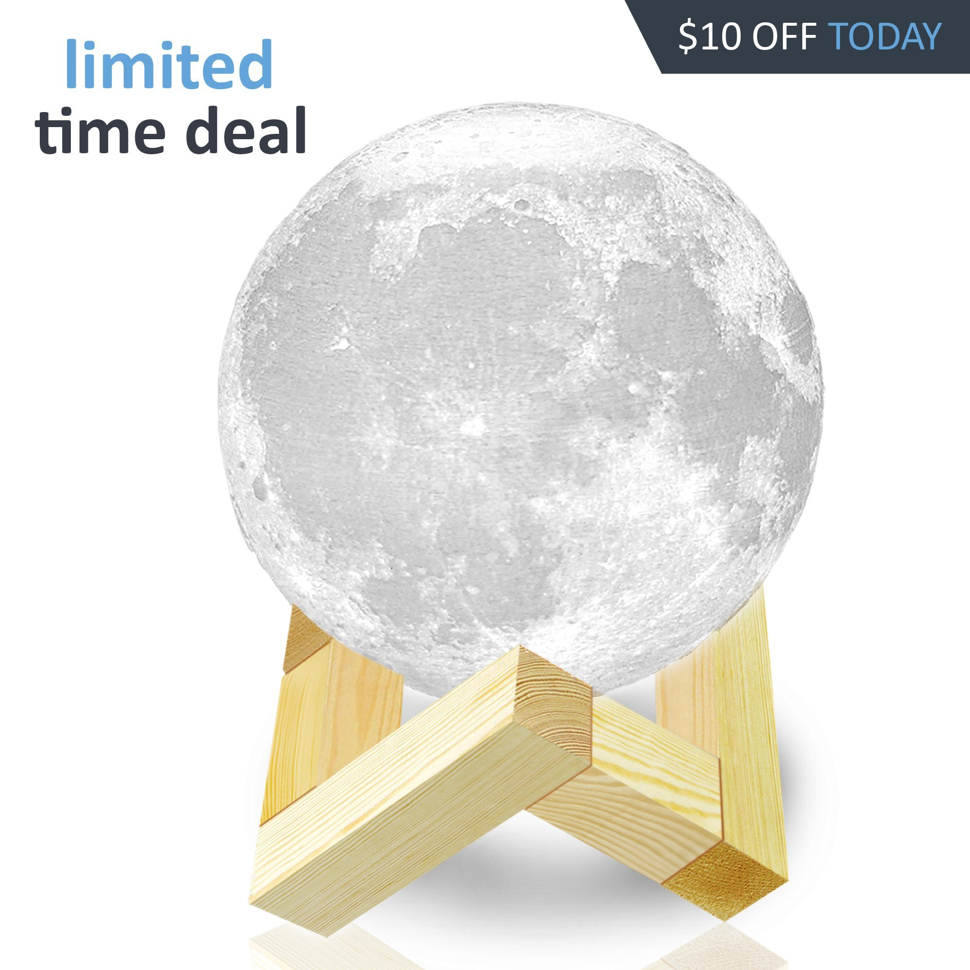 Moon Lamp Moon Light 3d Moon Lamp - [USA SELLER] [UPGRADE] 3 Color Moon Night Light With Stand - Mood Lamp Book, Globe, Cool Lamp, 3.9 in, USB Charging, With Wooden Stand, Box, Kids, MoonLight LED