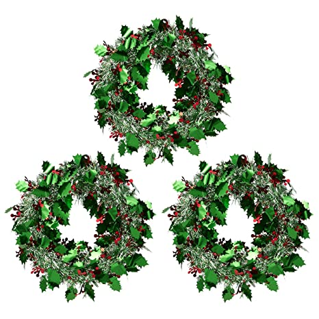 Silver Christmas Wreath.Juvale 3 Pack Christmas Wreath Sparkling Tinsel Door Hanger Perfect Xmas And Winter Green And Silver 11 8 X 11 8 Inches