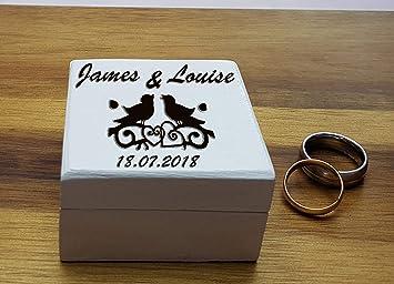 Caja de anillo de boda, caja de anillos personalizada, caja de pendientes de anillo