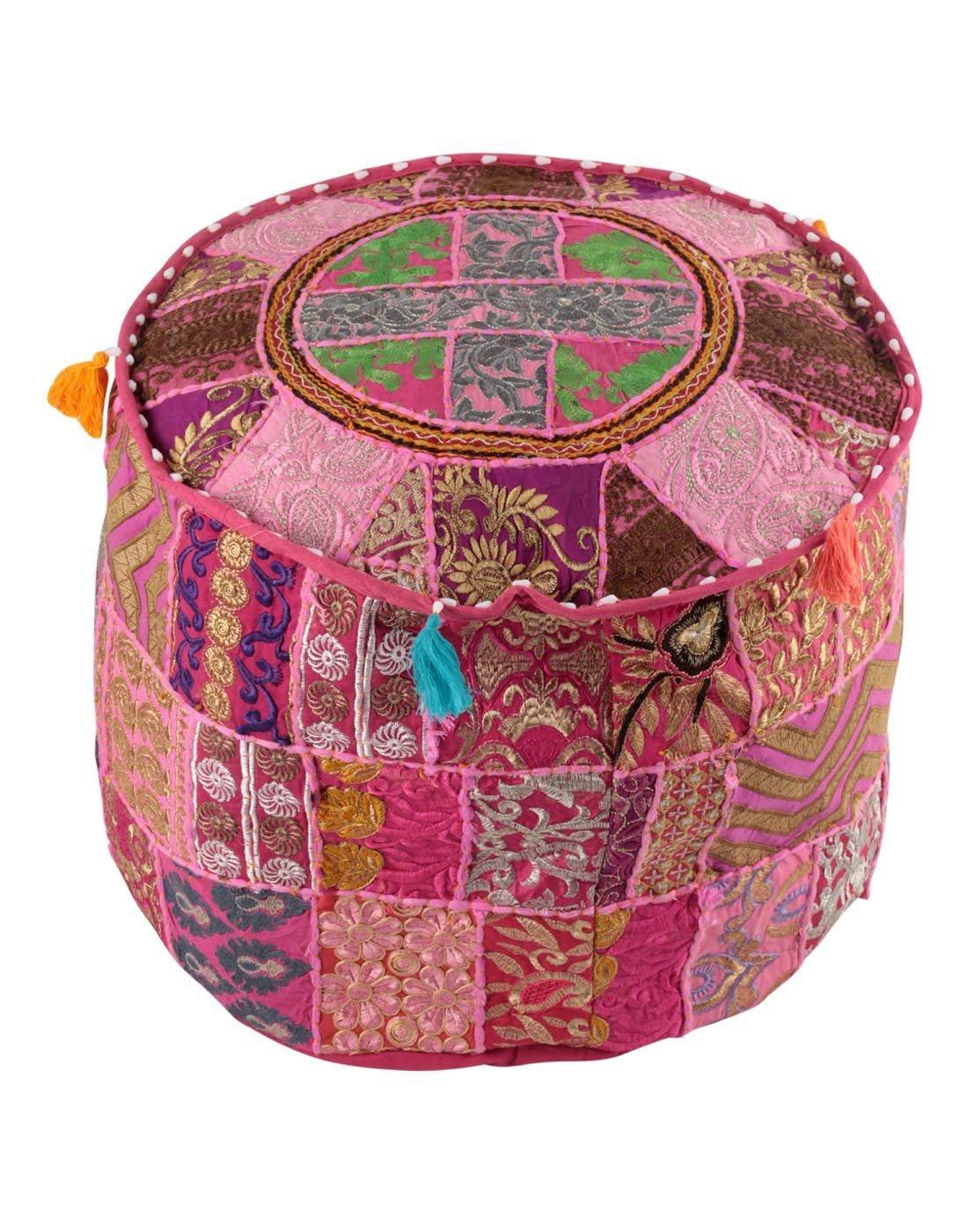 GANESHAM Indian Home & Living Decor Hippie Patchwork Bean Bag Boho Bohemian Hand Embroidered Ethnic Handmade Pouf Ottoman Vintage Cotton Floor Pillow & Cushion (22 inch dia.)
