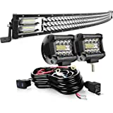 """AUSI LED Light Bar 42"""" Curved 576W Triple Row Light Bars + 2PCS 4inch 60W LED Cube Pods Off Road Driving Fog Lights With…"""