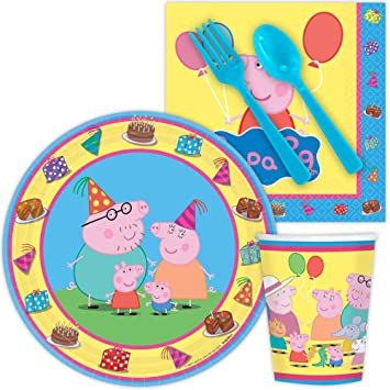 Peppa Pig Birthday Party Supplies Set Large Plates u0026 Cups Tableware Kit for 16  sc 1 st  Amazon.ca & Peppa Pig Birthday Party Supplies Set Large Plates u0026 Cups Tableware ...