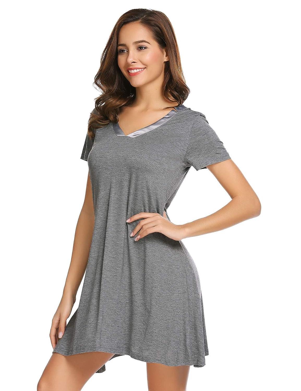 eb846b34f2 Bulges Women s Short Sleeve Nightshirt V-Neck Loose Nightgown at Amazon  Women s Clothing store