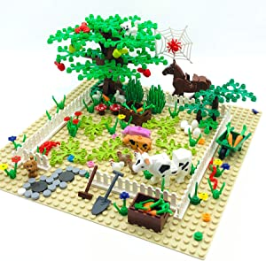 Farm Animals Building Blocks Toys Garden Park Trees and Flowers Classic Botanical Accessories Bricks for Kinds Compatible with All Major Brands (Include 1 Pcs 10