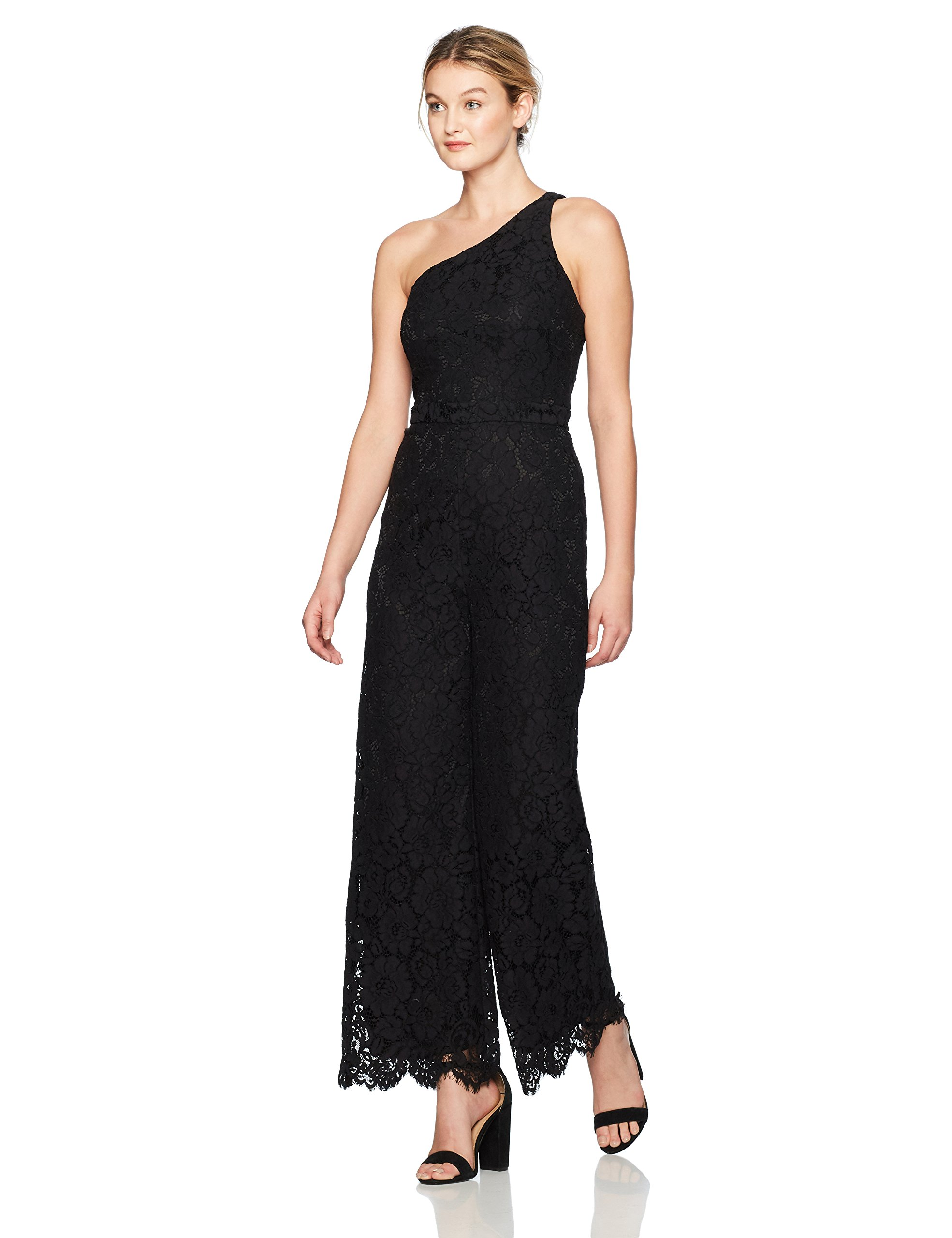 laundry BY SHELLI SEGAL Women's One Shoulder Lace Jumpsuit, Black, 10