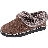EverFoams Women's Fluffy Memory Foam Slippers with Faux Fur Collar