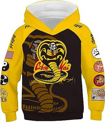 Kids Cobra Hoodie Fist Printed Sweatshirt Karate Cosplay Kai Costume for Halloween Party