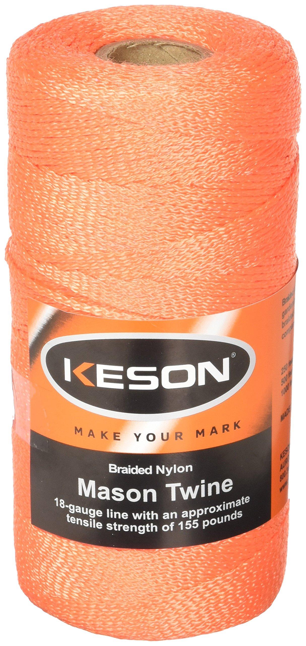 Keson OB1000 18 Gauge Braided Nylon Mason Twine, Orange, 1,000-Foot by Keson