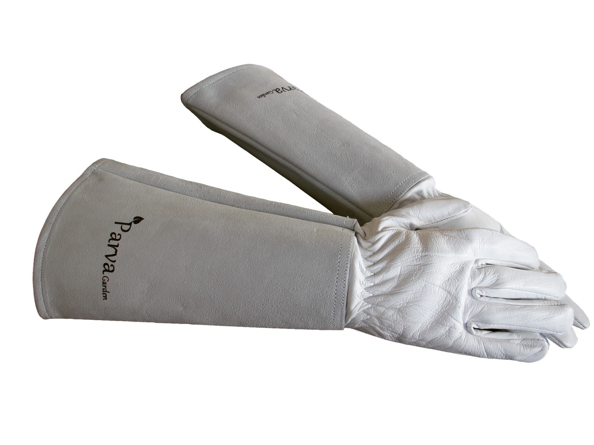 Rose Pruning Thorn Proof Gloves - Thorny Cacti, Blackberry Brambles, Prickly Plants - Leather Gloves with Canvas Gauntlet for Men and Women Gardening Gloves (Medium Neutral)