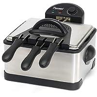 Bestron DF402B Family Friteuse met Cool Zone, 1 grote en 2 kleine frituurmanden, 4 liter, Frituurpan met kijkvenster…