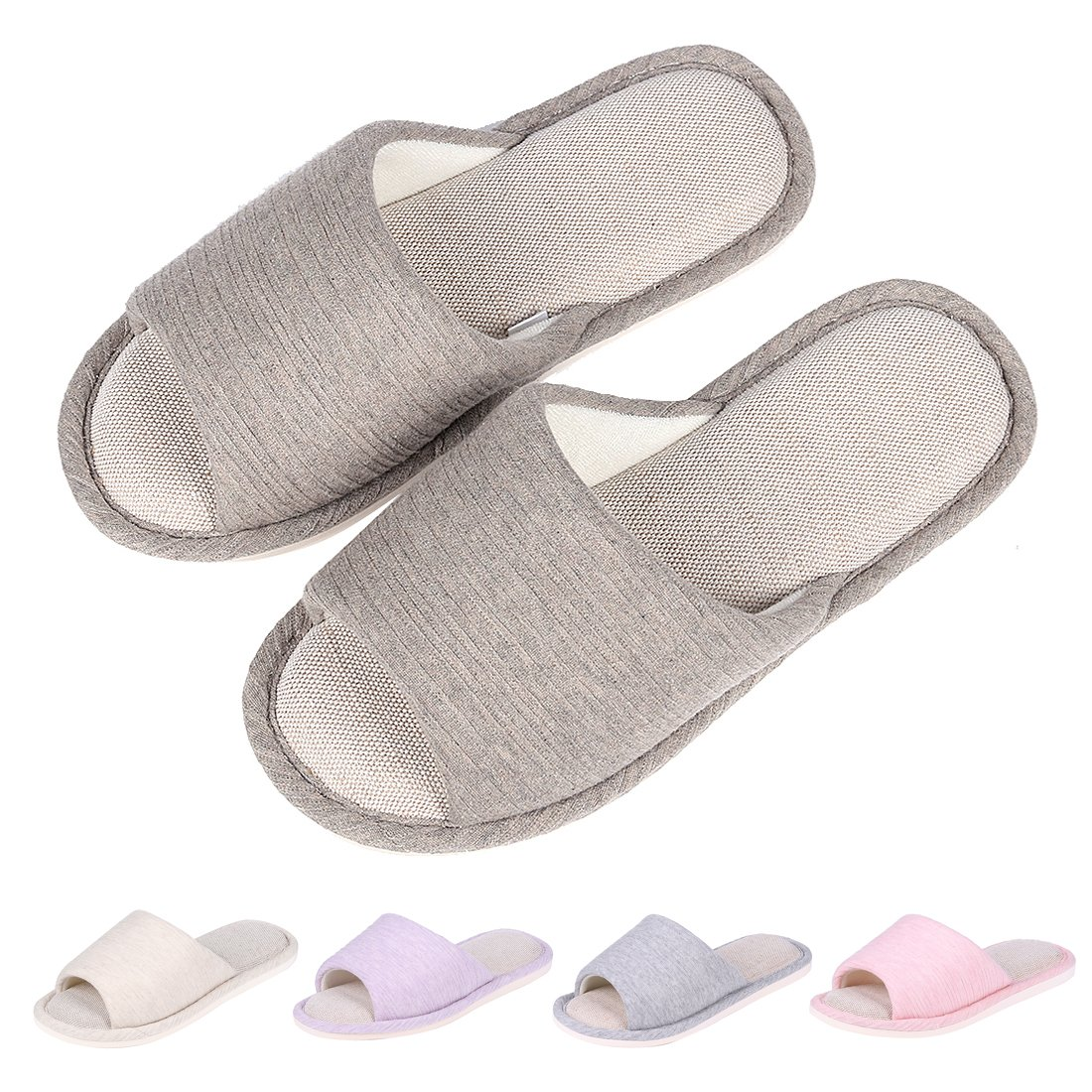 Women's Memory Foam House Slippers Summer Linen Home Shoes Open Toe Slip on Cotton House Slippers DG-XL