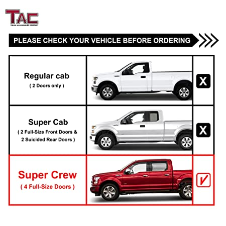 """TAC Side Steps Running Boards Fit 2015-2020 Ford F150 SuperCrew Cab 2017-2020 Ford F250//350//450//550 Super Duty Crew Cab Truck Pickup 4/"""" Oval Tube Stainless Steel 304 Chrome Side Bars Nerf Bars"""