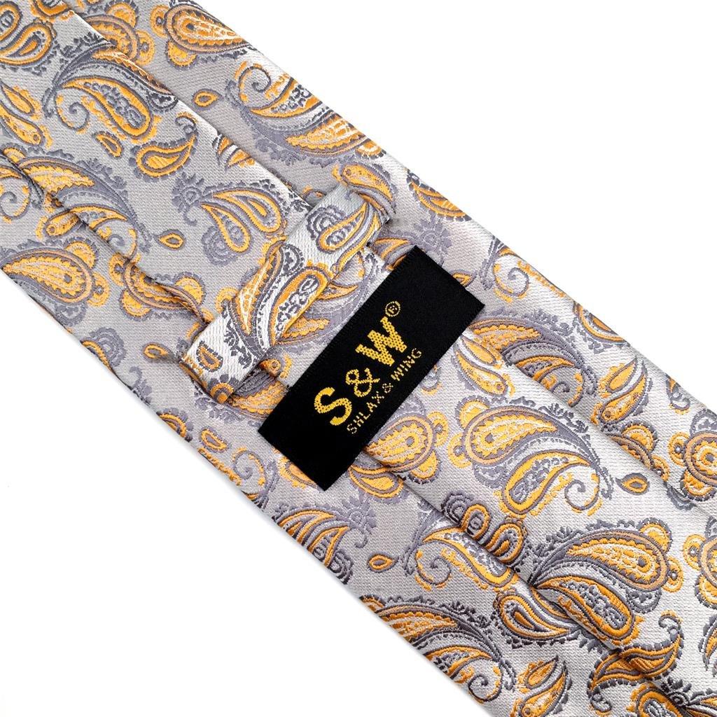 shlax/&wing Nuevo Cachemir Corbatas Para Hombre Plateado Naranja Seda Para Hombre Classic