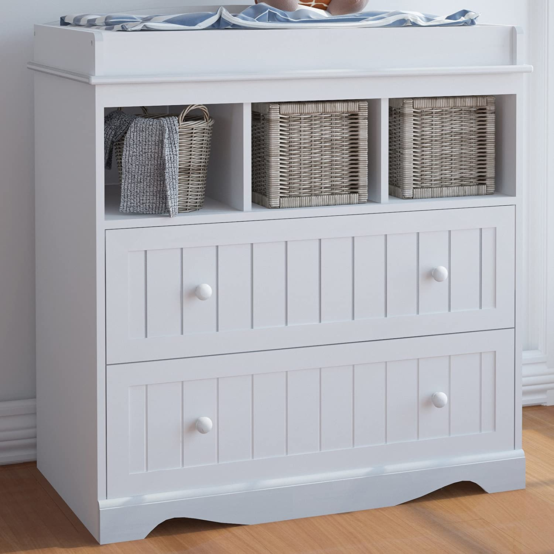 Infantastic - Cambiador para bebés con 2 cajones y 3 compartimentos - color balnco - aprox. 93,5/50/88 cm