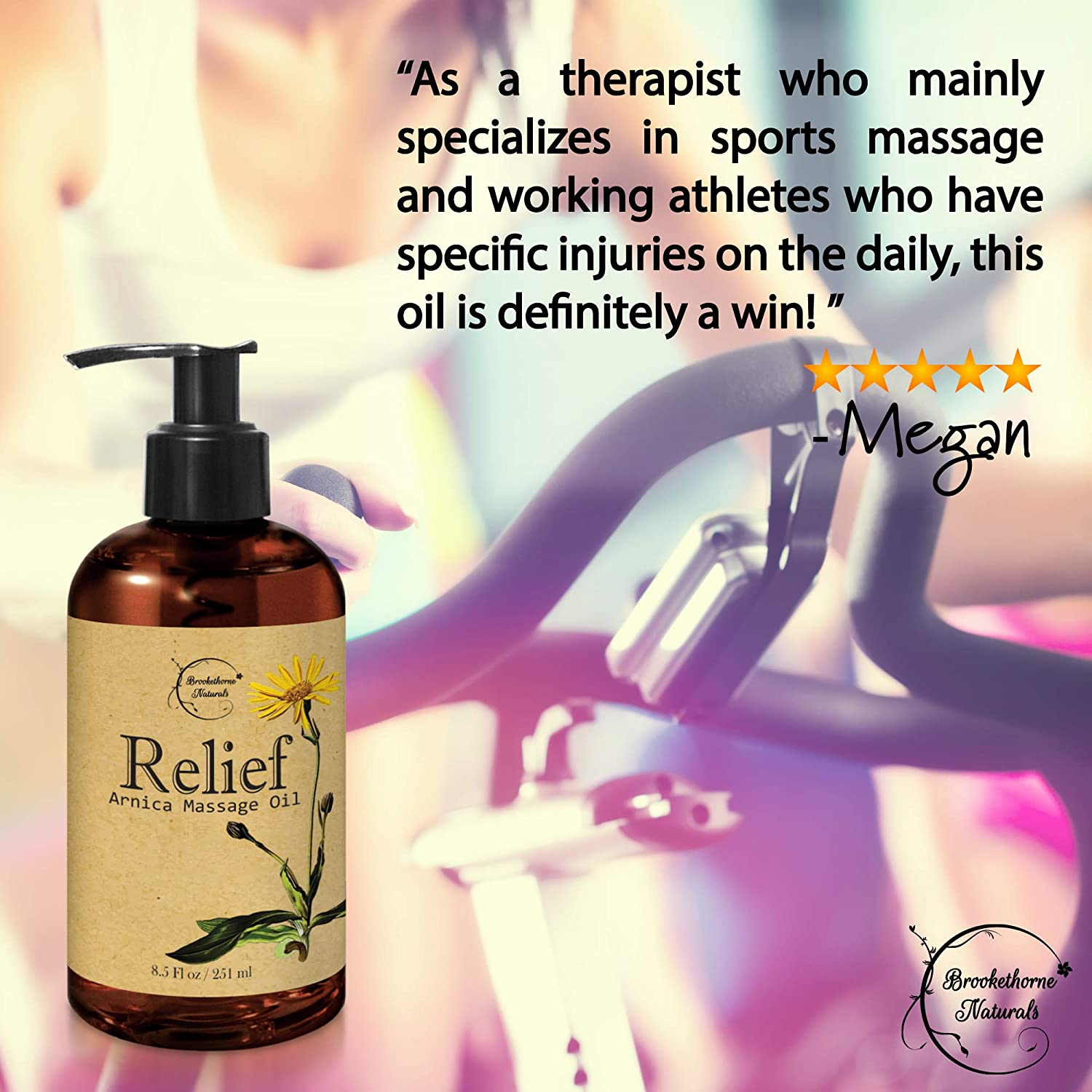 Relief Arnica Massage Oil – Great for Sports & Athletic Therapeutic Massage – All Natural - Arnica Montana for Sore Muscle Relief. Contains Sweet Almond, Jojoba, Grapeseed & Essential Oils 8.5oz: Health & Personal Care