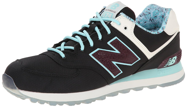 New Balance Men's ML574 Luau Collection Sneaker B00OGOXPQW 7.5 D(M) US|Black/Blue