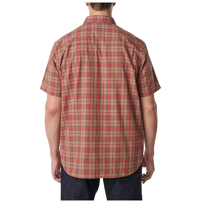 5.11 Tactical Mens Hunter Plaid Short-Sleeve Shirt Medium Red Plaid Eng