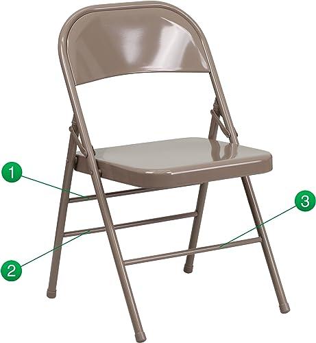 Hercules Series Folding Chair Set of 4 Finish Beige