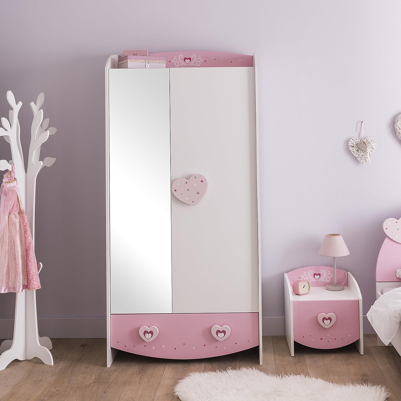 MDF 89/x 50/x 185/cm Anastasia 2/Portes 1/tiroir 1-Mirror Armoire Rose