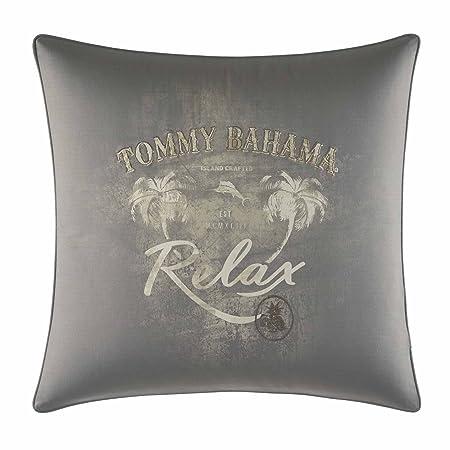 Tommy Bahama Raffia Palms Relax Print Throw Pillow, 20×20, Grey