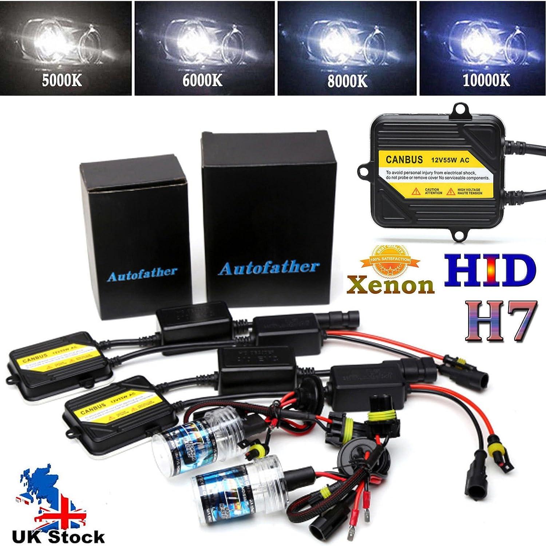 HID Xenon H7 Headlight Conversion Kit 55W Bright Bulb Ballast Alternating Current Canbus 6000K Diamond White - 2 Year Warranty UK Stock Autofather
