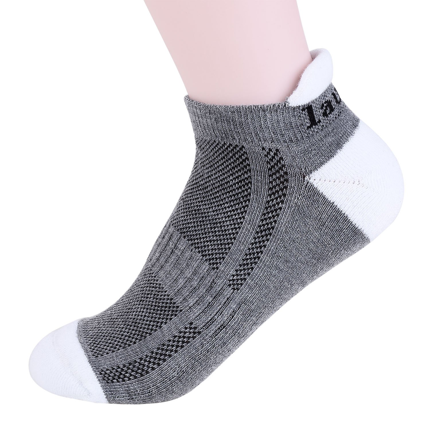 Calcetines Laulax de Coolmax tama/ño large profesionales para running atl/ético color Achilles Tendon Protection Grey wite White Toe mujer hombre
