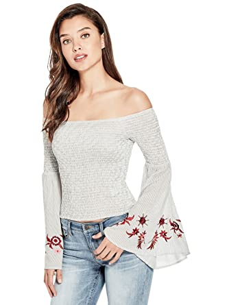 d5ffde2d71767 GUESS Factory Women s Briar Off-The-Shoulder Smocked Long-Sleeve Floral  Embellishment Top at Amazon Women s Clothing store