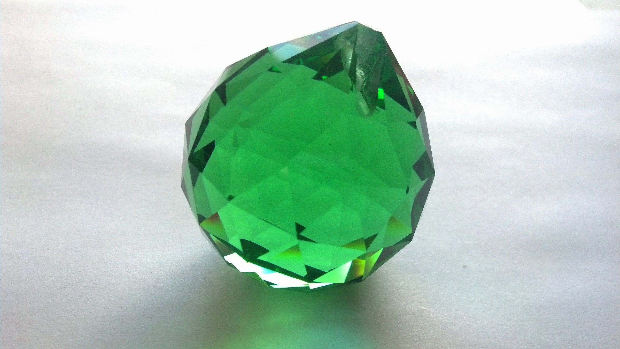 30mm Chandelier Crystal Green Faceted Ball Prism Feng Shui