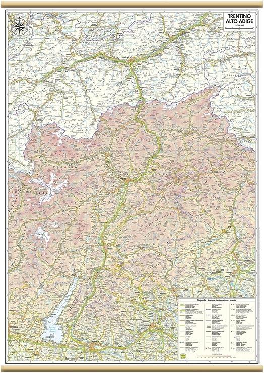 Trentino Alto Adige Cartina Fisica E Politica.Trentino Alto Adige Carta Regionale Murale 61x88 Cm Belletti Amazon It Cancelleria E Prodotti Per Ufficio