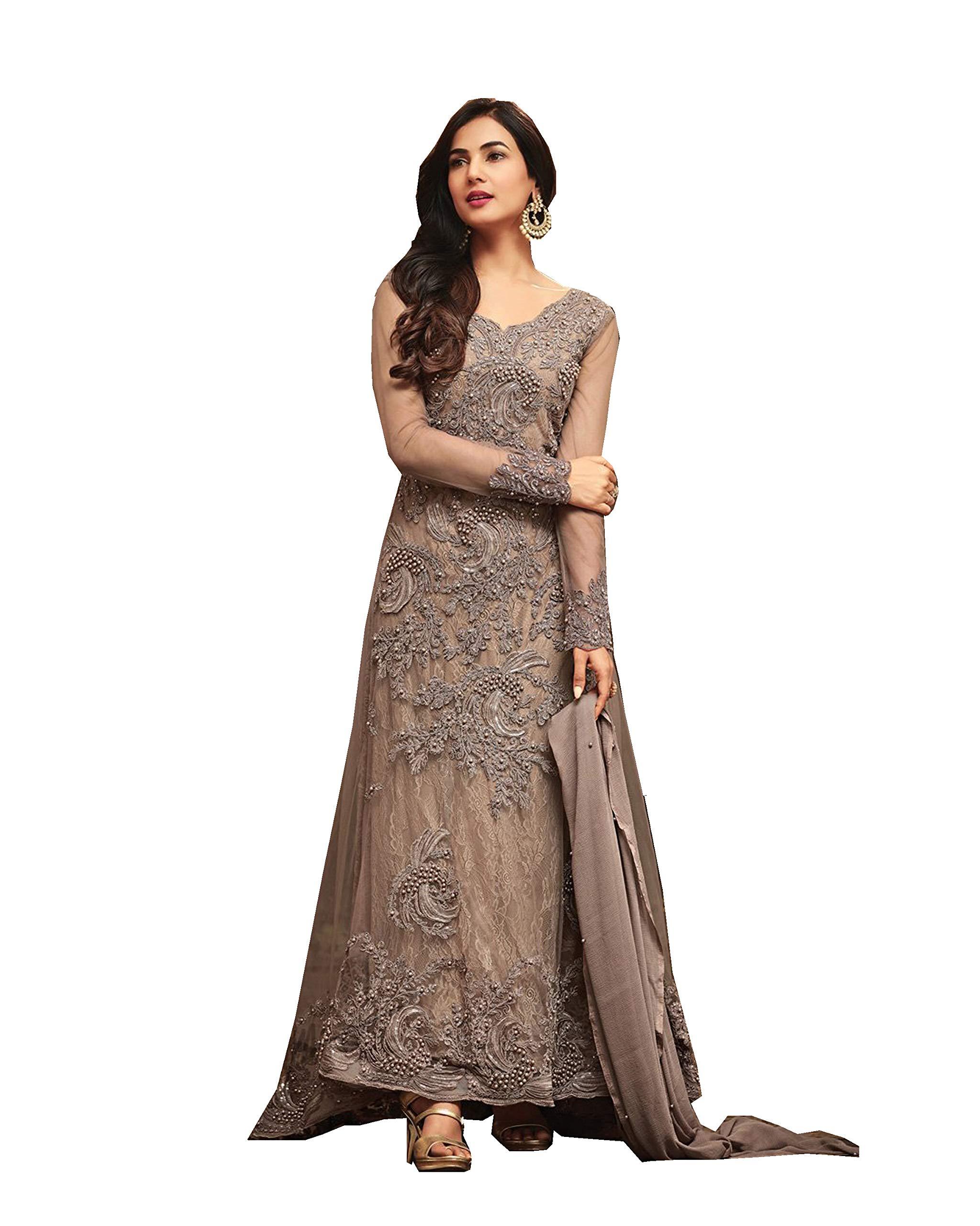 ziya Readymade Ethnic Indian Pakistani Net Salwar Kameez for Women Maisha 5703 (Gray, XL-44)