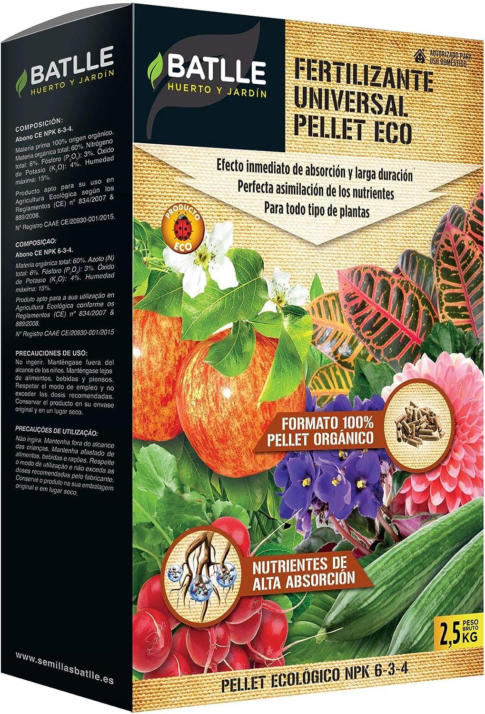 Abonos Ecológicos - Fertilizante Universal Pellet Eco 2, 5kg - Batlle: Amazon.es: Jardín