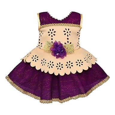 e88eaec9b3229 Wish Karo Baby Girls Party Wear Frock Dress DN - (fe2613ppl_5-6 Years)