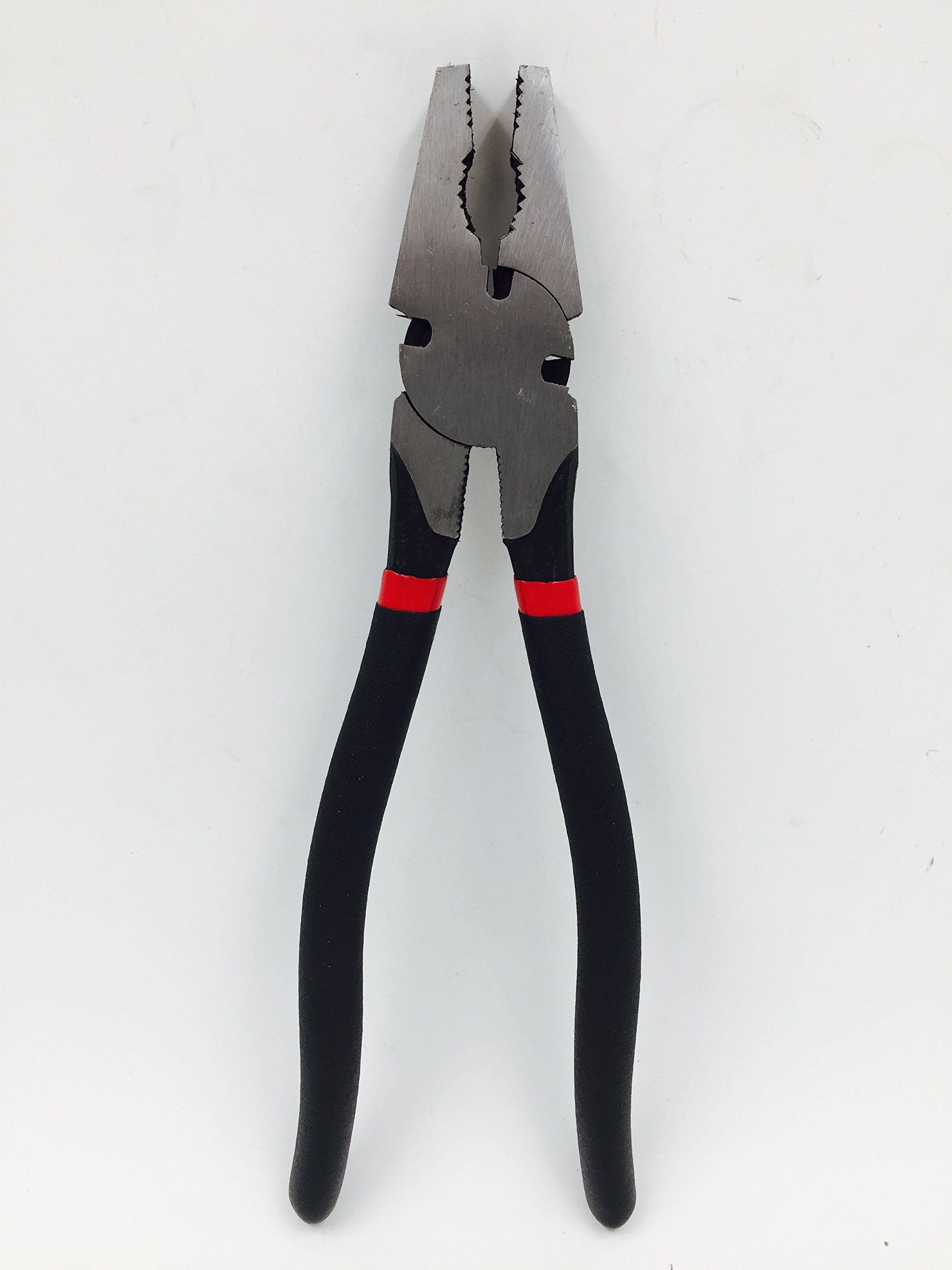 TruePower 10'' Heavy Duty Button Nose Fence Pliers Wire Cutter Crescent Style Forged Steel
