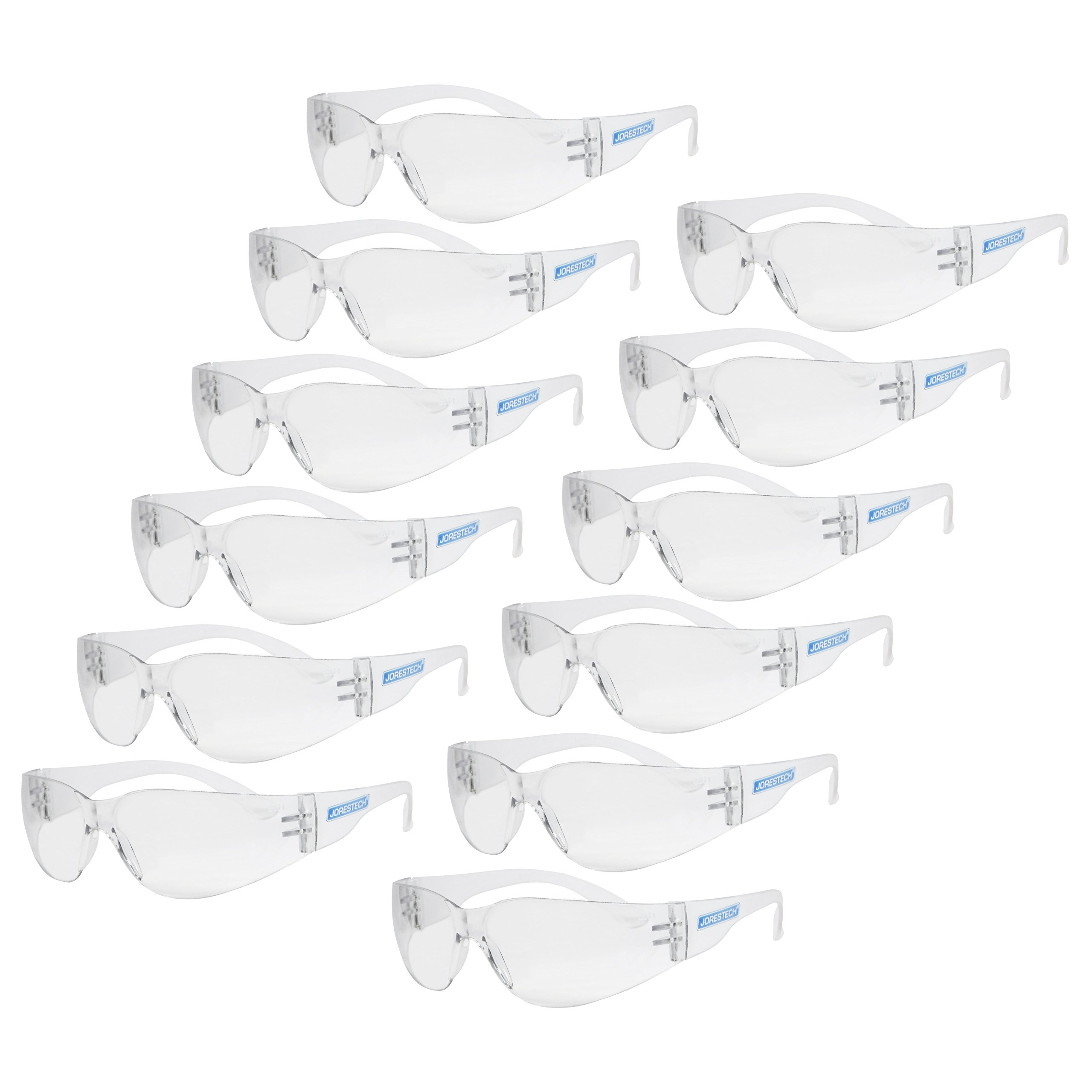 JORESTECH Eyewear Protective Safety Glasses, Polycarbonate Impact Resistant Lens Pack of 12 (Clear) by JORESTECH