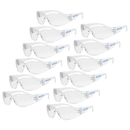 99deae7a1cd5 JORESTECH Eyewear Protective Safety Glasses, Polycarbonate Impact Resistant  Lens Pack of 12 (Clear) - - Amazon.com