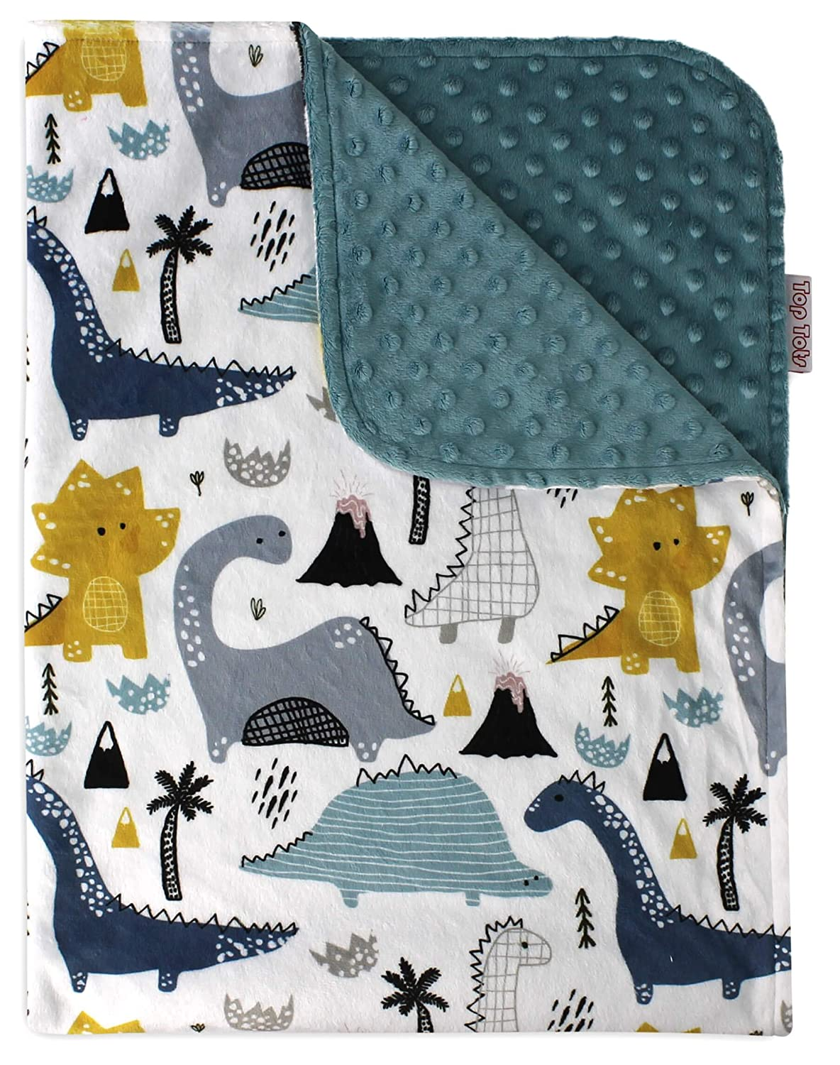 Baby Blanket - Dinosaur Jungle with Navy Blue Minky Dot