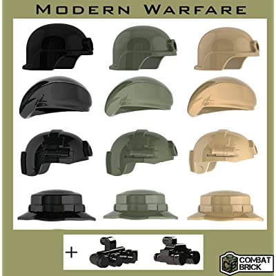 Modern War Helmets and Headgear 14 Pack - Custom Army Builder Minifig Toy Accessories lot: Toys & Games