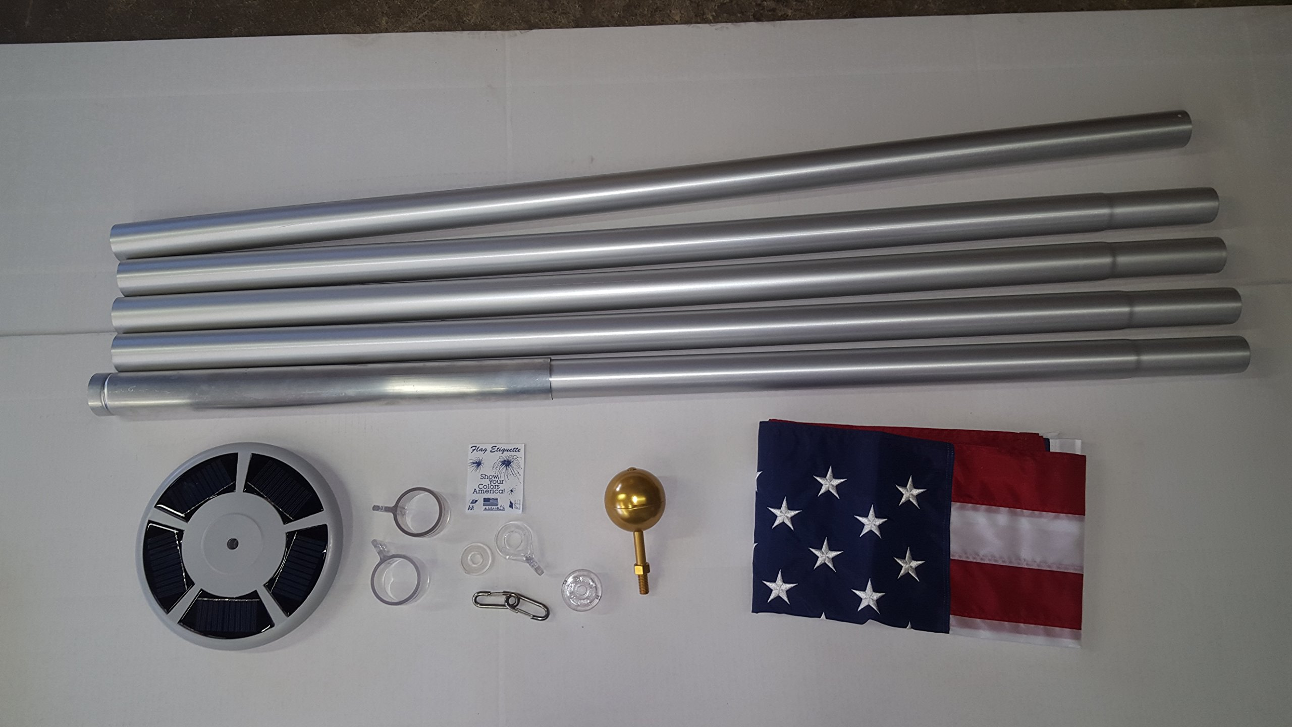 25 Ft Deluxe Silver Tangle Free Residential Flagpole Windstrong® Includes Commercial (100 LUX Solar Flagpole Light) 4x6 Ft Valley Forge US American Flag Made in the USA Warranty