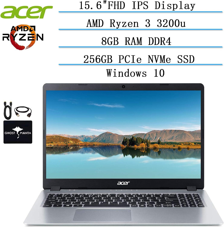 2020 Newest Acer Aspire 5 Slim Laptop 15.6 FHD IPS Display, AMD Ryzen 3 3200u-Dual Core (up to 3.5GHz), Vega 3 Graphics, 8GB RAM DDR4, 256GB PCIe SSD, Windows 10 w/Ghost Manta accessories