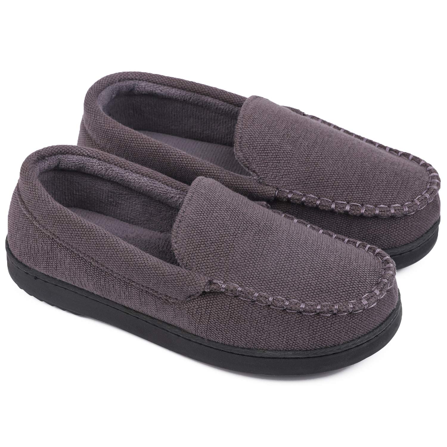 Womens Moccasin Slippers Anti-Slip House Shoes Indoor Outdoor Rubber Sole Loafers