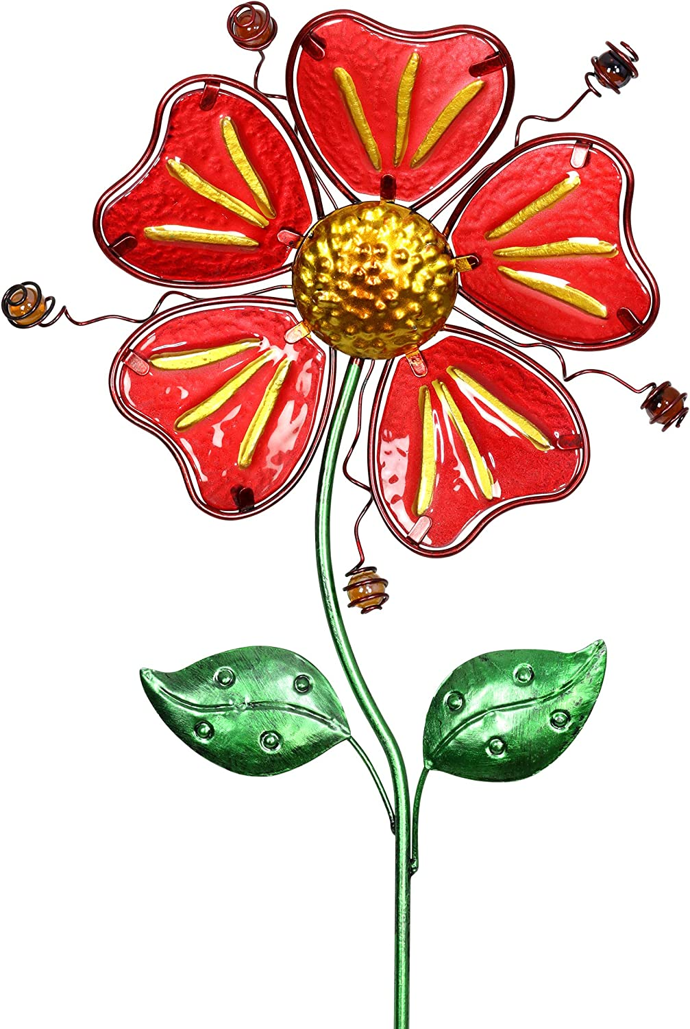Exhart Whimsical Red Flower Garden Stake in Glass and Metal - Glass Red Flower Metal Stake Hand-Painted with Fade-Resistant Metallic Coat - Flower Stake Garden Décor, Outdoor Ornament, 11 x 36 Inches