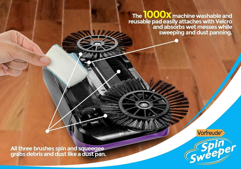 Impugnatura Girevole a 360 Gradi La Spazzola Senza Fili Manuale Rotante da Pavimenti Vorfreude Pro Scopa Automatica a Spinta Panno Riutilizzabile per Polvere Serbatoio per polvere da 900 ml