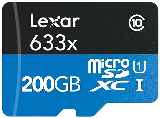 554 opinioni per Lexar High-Performance Scheda microSDXC, 200 GB, Velocità fino a 95 MB/s, 633x,