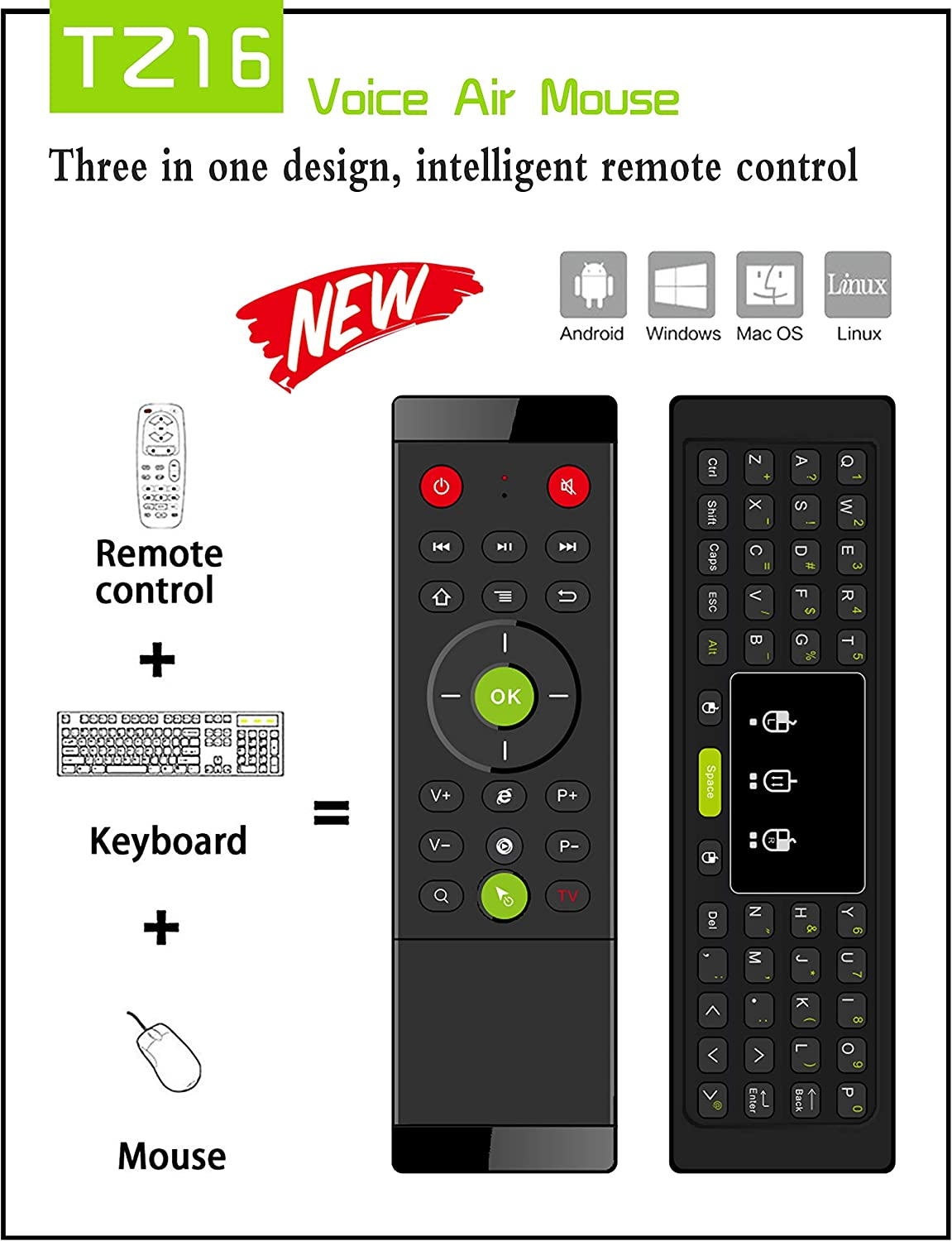 Calvas TZ16 2.4GHz Remote Control Gyroscope LED Backlight For Android TV Box PC Laptop Air Mouse Wireless Keyboard Touchpad Handheld