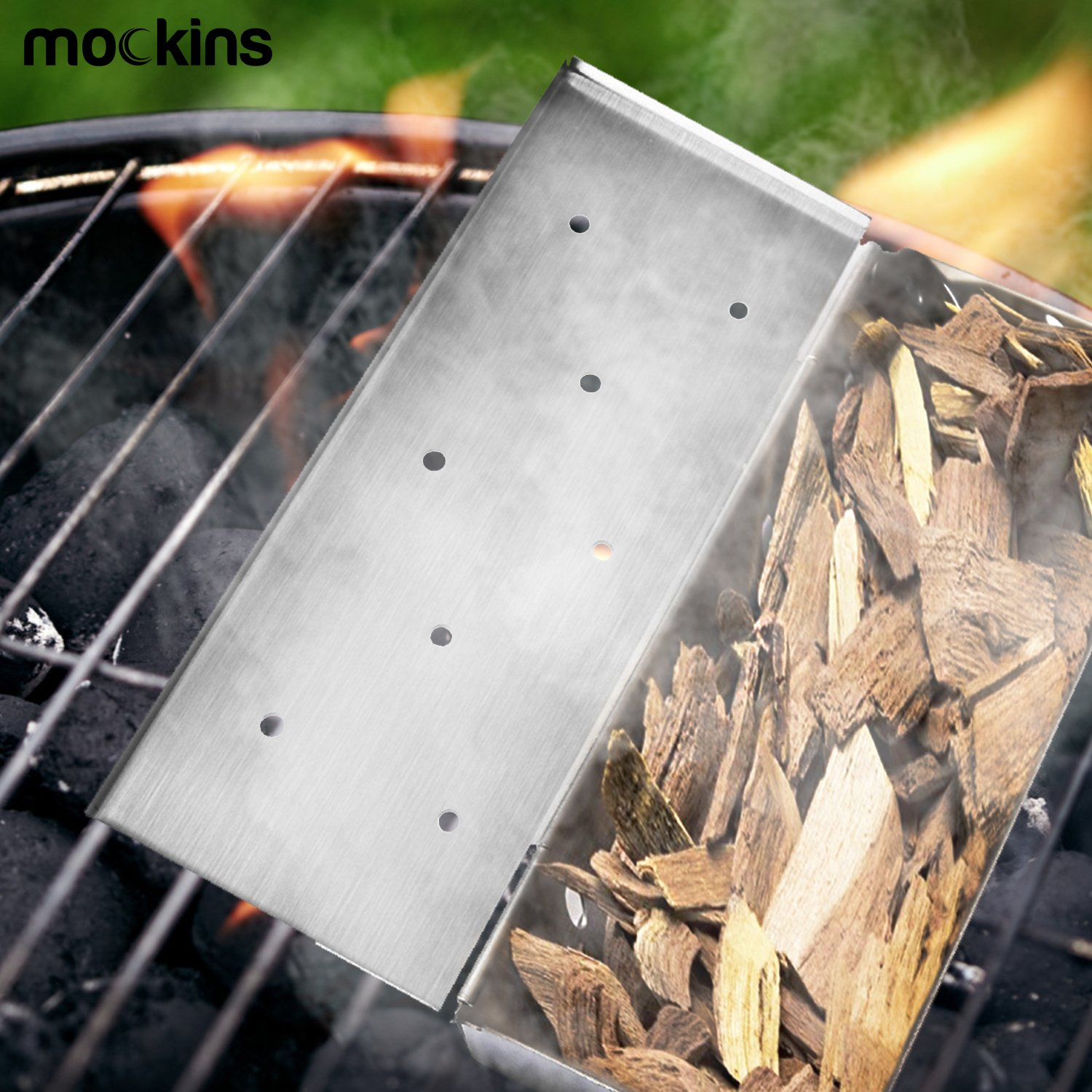 Mockins Even Thicker Stainless Steel BBQ Smoker Box for Grilling Barbecue Wood Chips On Gas Or Charcoal Grill … … by Mockins (Image #2)