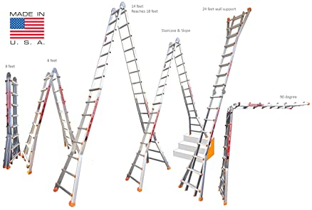 euro skymaster 8ft to 24ft aluminium step ladder multi use 18 in 1 a