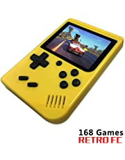 Handheld Game Console, Retro FC Game Console Video Game Console with 3 Inch 168 Classic Games , Birthday Present for Children (Yellow)