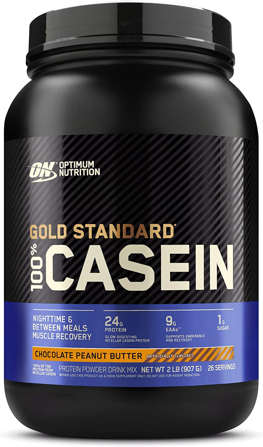 Optimum Nutrition Gold Standard 100% Micellar Casein Protein Powder, Slow Digesting, Helps Keep You Full, Overnight Muscle Recovery, Chocolate Peanut Butter, 2 Pound (Packaging May Vary)