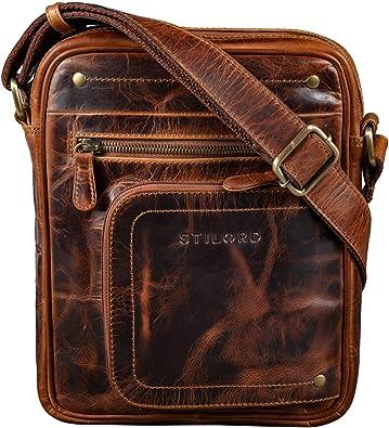 STILORD Randall Vintage Mariconera Piel Bolso Mensajero Bolso Documentos DIN A5 para Tablet 9.4 Bolso Hombro de Cuero